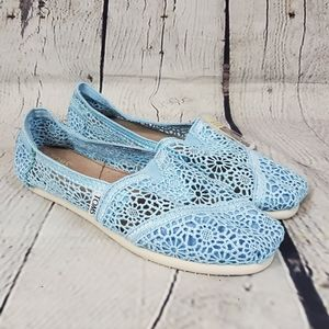 Tom's Baby Blue Lace Crotchet Slip On Flats
